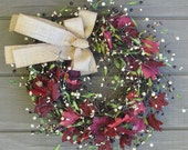 Fall Door Wreath � Berries and Maple Leaves � Berry Wreath - SimpleJoysofLife