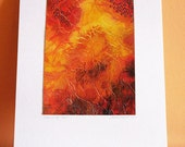 Original Painting, art, watercolor, Orange, Contemporary Abstract -Deep in the Heart