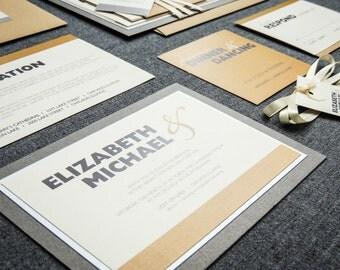 "Modern Wedding Invitations, Simple Invites, Contemporary Invitation, Neutral Khaki - ""Bold Striped"" Flat Panel, 2 Layers, v1 - SAMPLE"