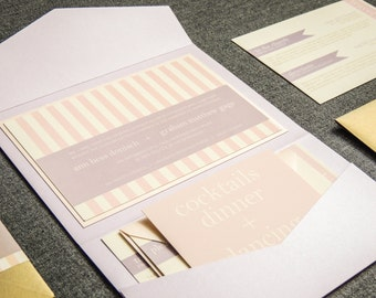 "Blush Wedding Invitations, Striped Wedding Invitations, Modern Invites, Pink and Lilac - ""Preppy Chic"" Pocketfold, 1 Layer, v1 - SAMPLE"