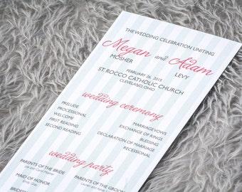 "Striped Wedding Programs, Wedding Ceremony Programs, Ceremony Programs, Coral and Mint - ""Sophisticated Stripe"" Flat Panel Program - DEPOSIT"