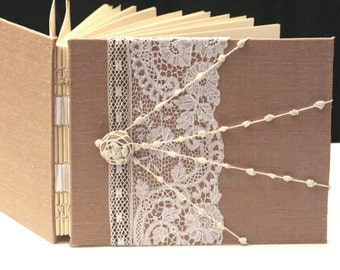 Vintage Wedding Guest Book, Album, Chocolate Lace Wedding Guestbook, Handmade, Personalized 'Bespoke""