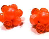 NEON Orange Metallic Crystal Beads Celluloid Lucite Plastic Cluster 1940s Clip Earrings Jewelry artedellamoda marked stamped Mad Men Style
