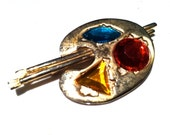 MJ ENT copyright designer Painters PALLET Colorful Rhinestones Pin Brooch 3D Authentic Vintage Jewelry artedellamoda 1980s Figural