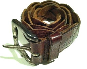 ARMANI Exchange Designer Belt Brown Leather Braid Leather Boho Accessory Designer Armani Unisex Designer Accessory Gift Authentic Vintage