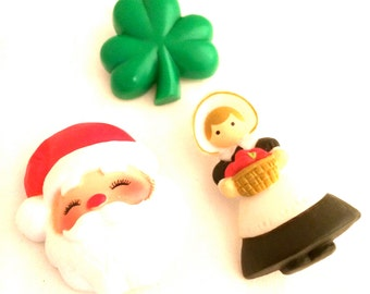 LOT of 3 HALLMARK Cards Pin Lucky Clover Irish Nature Leaf Amish Country Farm Girl Santa Claus Christmas Old Plastic Brooch Vintage Jewelry