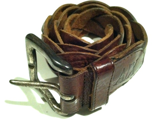 ARMANI Exchange Designer Belt Brown Leather Braid Leather Boho Accessory Designer Armani Unisex Designer Accessory Gift Authentic Vintage