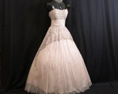 SALE Vintage 1940's 40s 1950's 50s Bombshell PINK Tulle Olive Metallic Embroidered Lace  Party Prom Wedding DRESS Gown