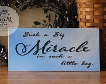 Such A Big Miracle In Such A Little Boy Sign, Boy Nursery Sign, Baby Room Decor