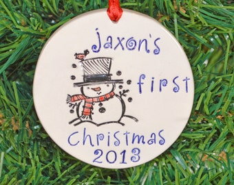 Baby's first Christmas ornament snowman, personalized, custom made to order, Christmas tree ornament