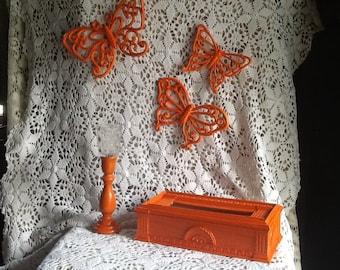 Orange Candle Holder / Vintage Tissue Box / Orange Butterflies / Tangerine Decor /