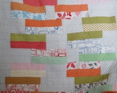 Throw Quilt, Modern Orange Blue Grey Green