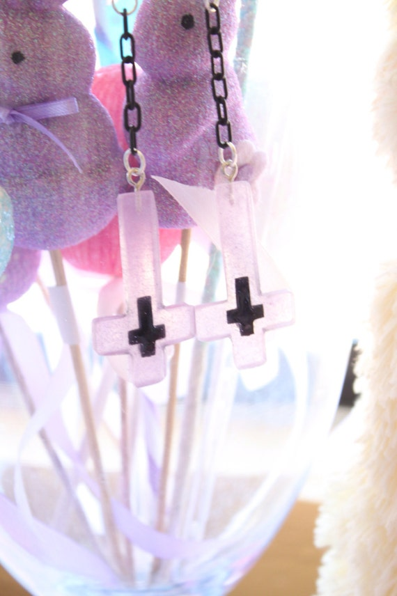 Pastel Goth Lavender Inverted Cross Earrings