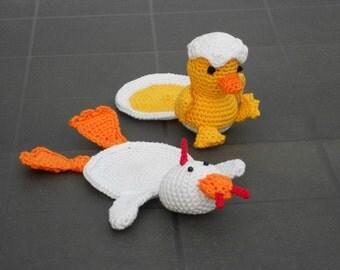 Crochet Pattern Coaster Turkey or Chicken - Haakpatroon Onderzetter Kalkoen of Kuiken