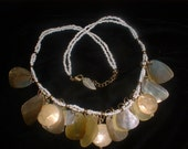 Vintage Glass Beads and Shell Shapes Tribal Necklace