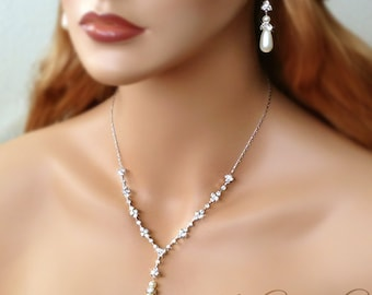 Teardrop Pearl Bridal Necklace and Earring Set - MARISSA