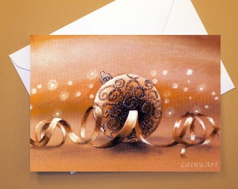 Christmas Art Greeting Card  - Created from Original ACEO drawing for Charity - Blank Notecard - 4x6 - Christmas- Day 353