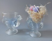 Vintage Glass Chicken Hen Egg Cups Arcoroc