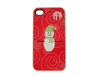 Christmas iPhone 4, iPhone 5 Case - Personalized Snowman iPhone With Monogram - Holiday iPhone Case - Snowman iPhone 4, 5 iPhone Wallet