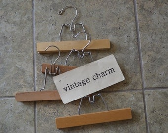 Vintage Wooden Pant or Skirt Clothes Hangers Set of 4 Mixed Woods