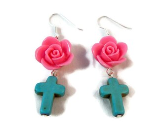 Pink Rose and Turquoise Cross Day of the Dead  Dangle Earrings