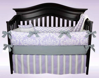 SALE! EMMA 5 Piece Crib Bedding Set Lavender Damask and Chevron | Free Diaper Stacker Included