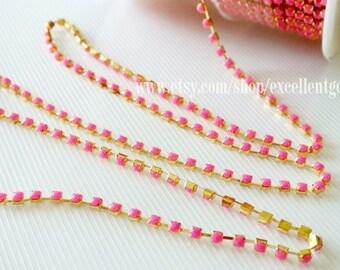 Rhinestone Chain Fashion Hot Pink rhinestone chain in Gold plated Brass Setting-3.5mm (ARC-005)