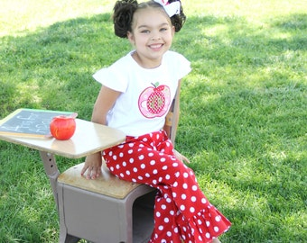 Back to School Outfit, Apple Ruffle Pants, Toddler Girls Ruffle Pants, Applique Outfit, Toddler Girls Outfit, Personalized Shirt