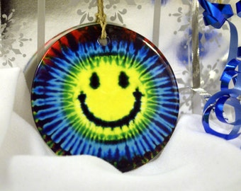 Blue Yellow Purple Smiley Face Tie Dye Hippy  Fun Colorful Ceramic Hanging Ornament