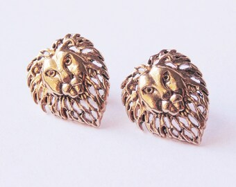 Gold lion earrings Lion stud earrings Lion earrings Lion jewelry Lion studs Gold lion studs Vintage lion earrings Stud earrings Post earring