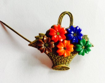 Basket Full Of Posies Celluloid Flowers in Pin Back Metal Basket Miniature ON SALE