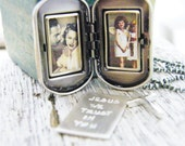 mens dog tag picture locket sterling silver