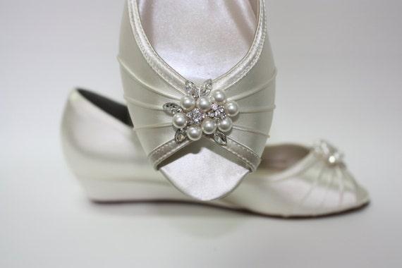 Wedge Wedding Shoes Peep Toe Ivory Shoes 1 Inch Wedge Heel
