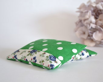 lavender sachets in blue and green patchwork - floral home decor - hostess gift - aromatherapy - lavender pillow - gardener gift