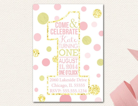 Items similar to Pink Gold Glitter Sparkle First Birthday – Pink First Birthday Invitations