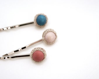 Rustic Bobby Pins, Wood Linen Hairpins, Trio Hairpins, Coral Turquoise Oatmeal, Shabby Chic Hair Accessories
