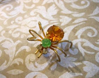 Vintage Rhinestone SPIDER Pin / Brooch Austria
