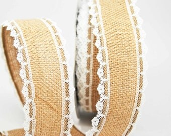 Cotton Blend Burlap Ribbon 1.5 inch -- Natural Brown -- Wired Burlap -- 2 yards