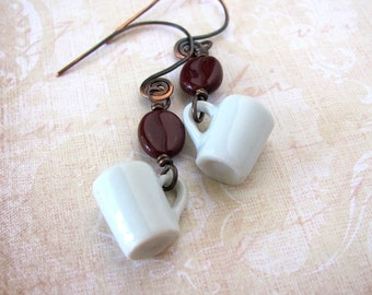 Unique coffee mug earrings coffee lover gift coffee earrings pottery coffee mug coffee cup earrings coffee bean earrings