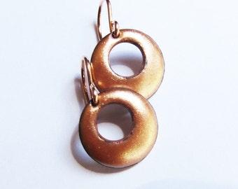 Tiny rose gold enamel drop earrings Small hoop disc dangles Gift for her Rose gold ear wires Modern enamel jewelry Dainty copper earrings