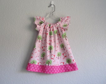 Little Girls Flutter Sleeve Dress - Pink with Woodland Bunnies Dressed in Red - Little Girls Clothes - Size 12m, 18m, 2T, 3T,4T, 5, 6 or 8