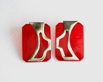 Vintage Art Deco Sterling Silver Cherry Red Glass Earrings - Pierced - Very Unusual - Very Old