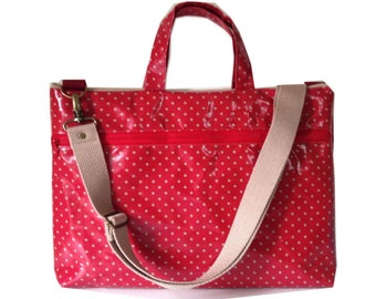 """Waterproof- 13"""" Macbook or Laptop bag with handles and detachable shoulder strap- Polka dots in pink   -Ready to ship"""