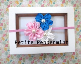 Trio Satin Flower Headband on Pink Skinny Elastic Headband Great for Photo Prop, Baby Shower Gift, Birthday Pictures