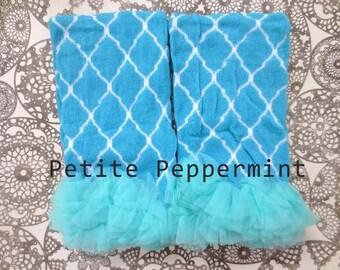 Baby Leg Warmers, Baby Ruffle Leg Warmers, Baby Leg Warmers Girl - Turquoise Mod