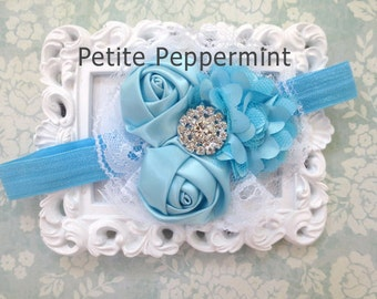 Turquoise Baby Headband, infant headband, toddler headband, Baby Flower Headband, Baby Hair Bow,Baby Bow Headband,Infant Headband