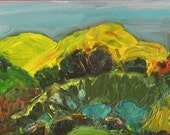 Landscape Oil Painting: Mountains at Sunrise. Framed and ready to hang.