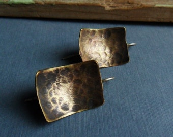 Hammered Brass Gold Toned Geometric Earrings