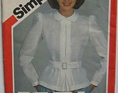 RARE Misses' Fitted Back Button Shirts and Belt, Blouse, Simplicity 6222 Sewing Pattern UNCUT Size 8