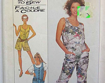 Misses' Easy to Sew Jumpsuit in 3 Lengths, Simplicity 8688 Sewing Pattern UNCUT Size Petite 6-8